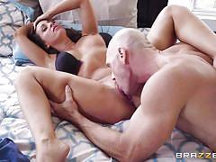 milf, wife, big boobs, kissing, caught masturbating, vibrator, pussy licking, brunette, bald guy, real wife stories, brazzers network, johnny sins, abigail mac