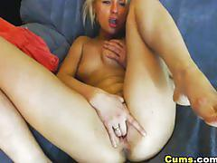 Cute blonde masturbating her cunt