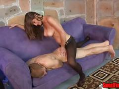 pussy, tits, fishnets, strapon, eating, femdom, pegging, cuck, cuckolding, cei