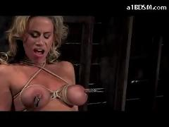Busty blonde with breast bondage mouthgag tied to box nipples vacumed getting whipped stimulated with vibrator in the dungeon