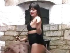 Sexy college girl strips down to leather lingerie and teases