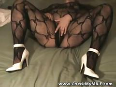 Hot bbw milf in black body stockings masturbating