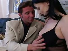 Black haired eurobabe with lovely tits anal