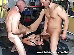 Extreme fist fucked toilet slave