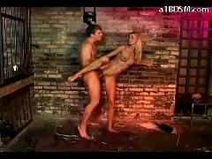Blonde girl getting her pussy fucked facial getting her feets tortured by monk in the dungeon