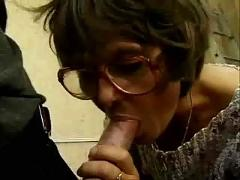 Mature in glasses   anal in stockings