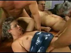 Granny group sex in stockings
