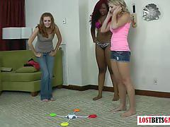 3 chicks challenge each other to a strip memory game