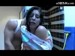 Girl with tied arms getting her mouth fucked wrapped with shower curtain fucked in the bathroom facial