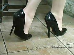 fetish, stilettotease.com, kink, black high heels, feet, legs, sheer nylon, foot fetish, milf, housewife, stockings, blonde, shoes, solo