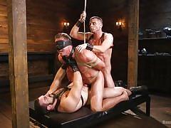 gay, blindfolded, rope bondage, bdsm, big cock, muscled, deepthroat, threesome, domination, double anal, bound gods, kink men, lance hart, jaxton wheeler, pierce paris