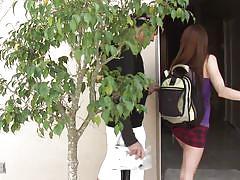Slutty schoolgirl swallows cock for an internal
