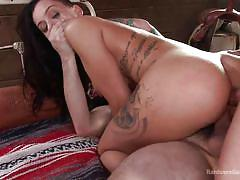 Punk chick gets her ass & mouth filled with cocks