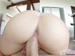 Teen pussy dripping sperm after creampie