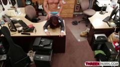 Amateur at a pawn shop sells a flash of her immensely huge tits