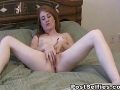 erotic, postselfies.com, red head, natural boobs, nipple licking, tease, clit rubbing, fingering, masturbation, shaved pussy, wet cunt, solo girl, orgasm