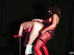 Hot dominant mistress ass fucks dirty sissy slut with big electro strapon