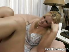 Big tits blonde welcomes a nice cock