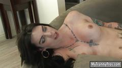 Big tits tattooed tranny chelsea marie anal pounding on sofa