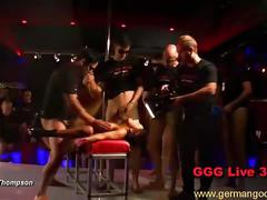Hot chicks gets gang banged with an audience