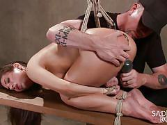 bondage, bdsm, babe, hanging, round ass, whipping, vibrator, brunette, tied up, upside down, basement, anal hook, sadistic rope, kink, serena blair