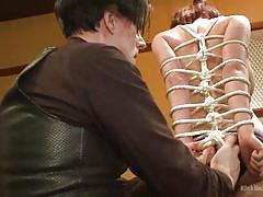 bdsm, babe, redhead, stockings, tied up, instructional, shibari, rope bondage, demonstration, kink university, kink, krysta kaos, odile, jd from knottyboys, iona grace