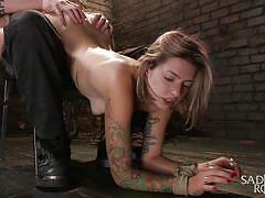 bdsm, babe, torture, piercing, fingering, brunette, tattooed, tied up, mouth fingering, ropes, sadistic rope, kink, missy minks