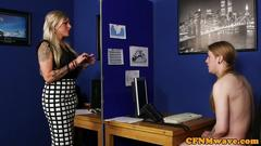 British femdom cocksucking cfnm sub in office