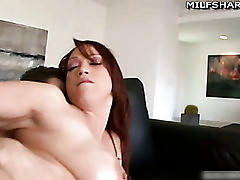 Pierced milf nicki hunter fucks off