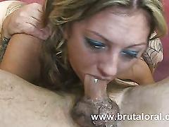 Shapely slut survived face fucking