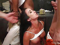 Choking on cock and getting fucked like crazy