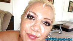 Pov blonde face jizzed