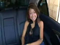 Amateur asian teen fucked in backseat of car ( japanese 18 japan daughter interracial blowjob cumshot pov )