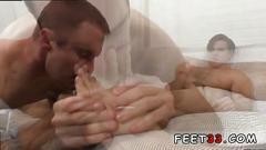 Twink gay boys and old men sex cameron worships aspens feet makes him cum