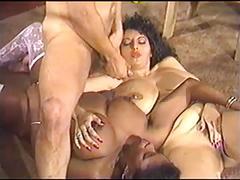 Vintage big breast threesome