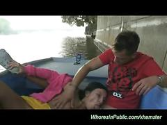 Young couple fucking on the public boat