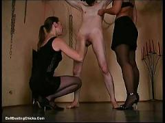 Brutal cock slapping while cumming - ballbusting, cbt