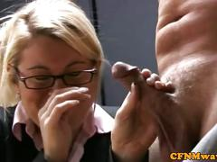 european, blonde, handjob, threesome, glasses, jerking, humiliation, voyeur, euro, femdom, cfnm, eurosex
