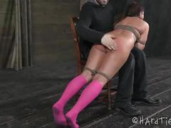 fingering, vibrator, spanking, drool, forced-orgasm, hogtie, choking, otk, suction-cups, nipple-clamps, rope-bondage, nipple-suction