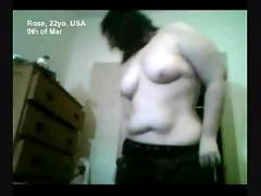 Chubby exhibishionist girl masturbates on her webcam