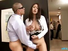 Horny office lady fingered while standing jerking off guy cock cum to legs at th