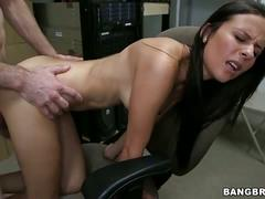 Gorgeous brunette fucks in the office