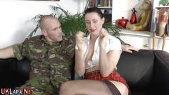 Bound brit gets anal cum