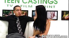 Skinny casting teen gets stripped by a pushy guy