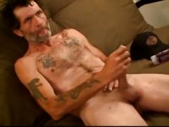 Hairy chest daddy strips and masturbates