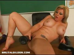 Busty teacher kylee filling her pussy with a huge dildo