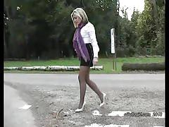 fetish, stilettogirl.com, kinky, feet, high heels, legs, foot fetish, nylons, stockings, blonde, babe, tease, walking, alone, public
