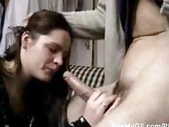 Hot brunette girl deepthroats cock