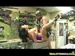 Bella gets her pussy pumped by the infamous milf hunter