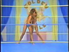 blonde, bikini, brunette, topless, retro, wrestling, catfight, wrestle